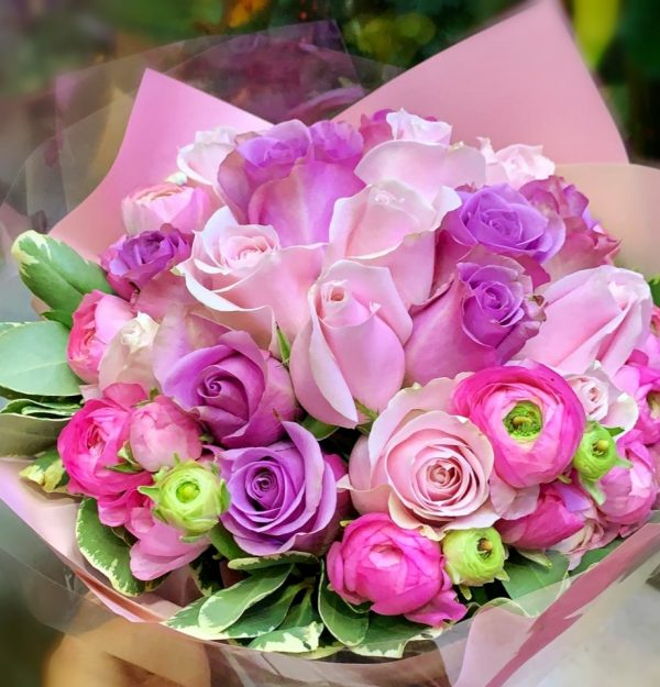 Mixed pink and purple roses