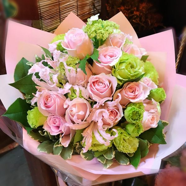 Soft pink roses with green fillers